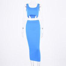 Женский трикотажный комплект из двух предметов в рубчик, длинная юбка, укороченный топ на бретелях, пикантная элегантная праздничная одежд...(Китай)