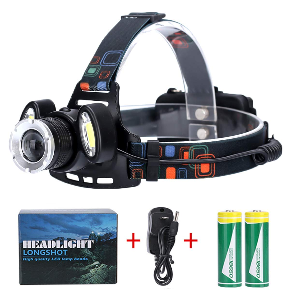 Headlamps for Camping, KATEGY LED Headlamp Flashlight Zoomable 4 Light Modes Lightweight Super Bright Headlight for Camping, Fishing, Hunting, Hiking with 18650 Rechargeable Batteries