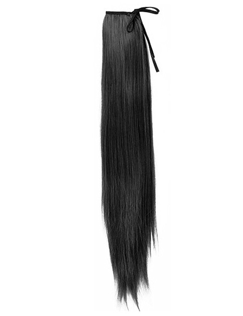 55x10cm Black Synthetic Fiber Wrap Round Pony Tail Extension Straight Style