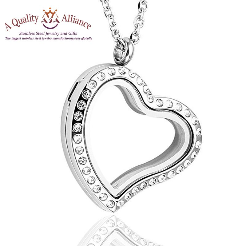 New Product durable heart locket custom stainless steel pendant necklace jewelry