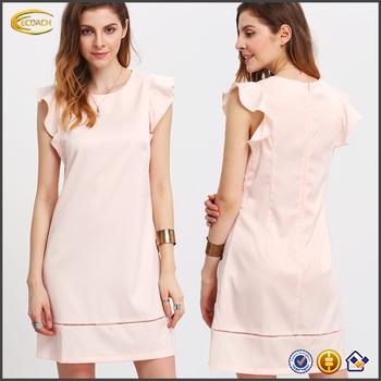 Fashion Wanita Pink Petal Lengan Ecoach Polos Elegan Pola Gaun Pesta