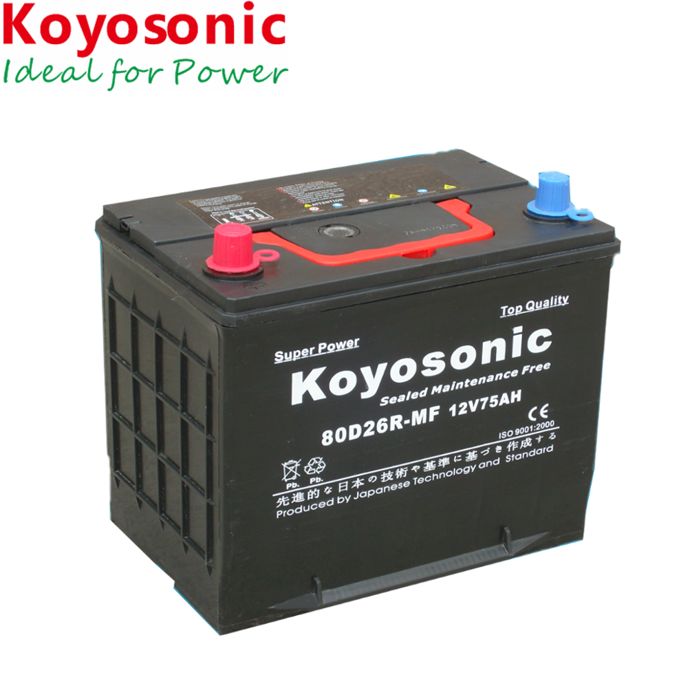 80D26R High quality 12V 75ah Lead Acid JIS maintenance free car battery (automotive battery)