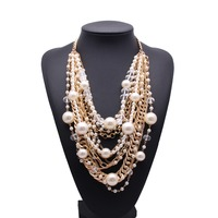 Fashion women multilayer white pearls long chain necklace jewelry