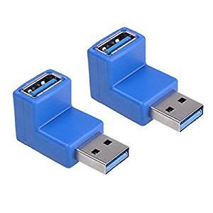 Plug Converter - TOOGOO(R) 2-Pack USB 3.0 A Male to A Female M/F 90 Degree Angled Adapter Plug Converter Blue