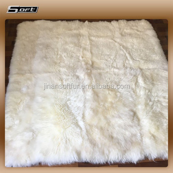 White Square Sheepskin Area Rugs