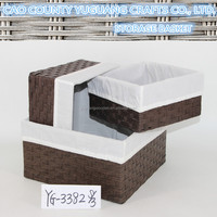 Eco-friendly material paper straw bread basket with liner