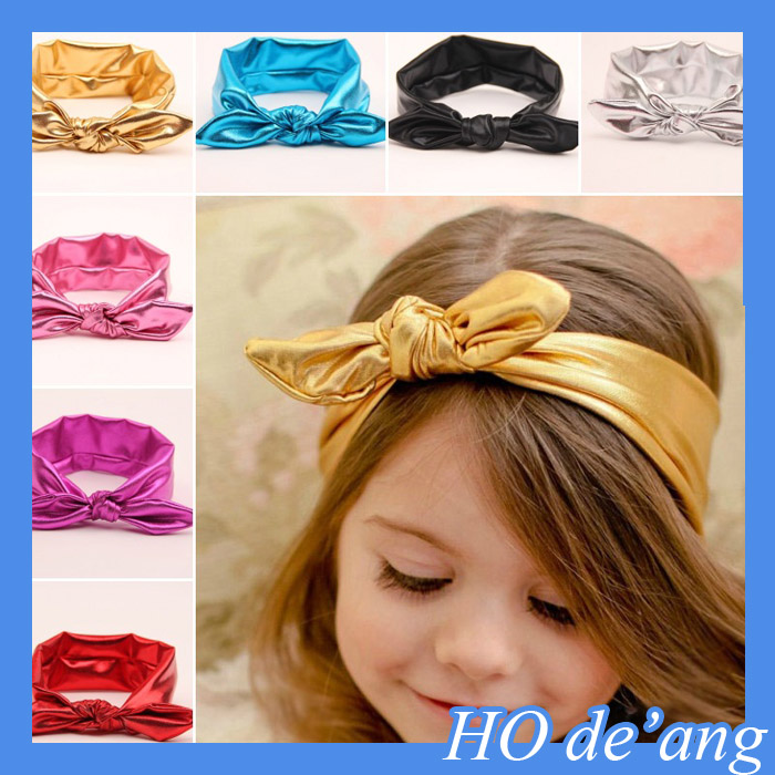 HOGIFT Children bronzing rabbit ear hair band,tie a knot elastic headband,baby hair accessories in Europe and America