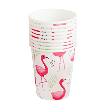 Custom Flamingo Bird Disposable Paper Cup with Single PE Film