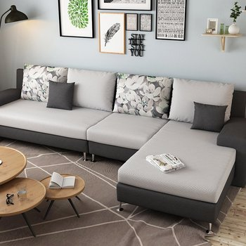 L Shaped Sofa Stainless Steel Frame Living Room Furniture Sofa