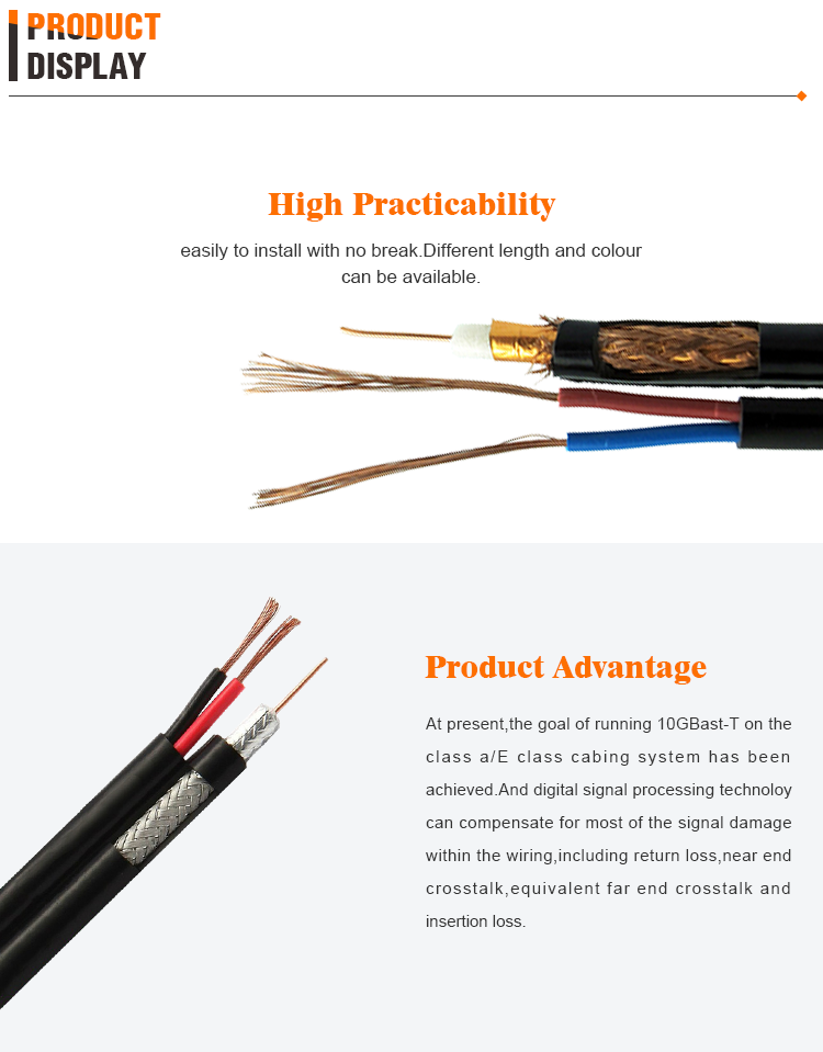 Factory Direct Equip TV Coaxial Cable RG59 with Two Power Line