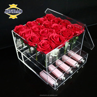 JINBAO Customizable Square Clear Acrylic Rose Flower Box