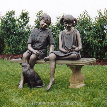 Bronze Garden Boy And Statue With