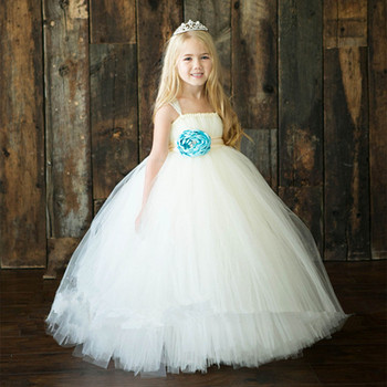 Kids Wedding Gown Girls Puffy Party Dresses White A Line Dress For 6 ...