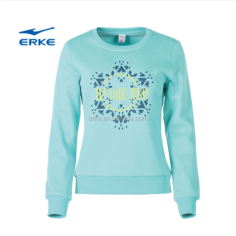 Erke Fashion Womens Sports Cotton Crew Neck Long Sleeve Pullover ...