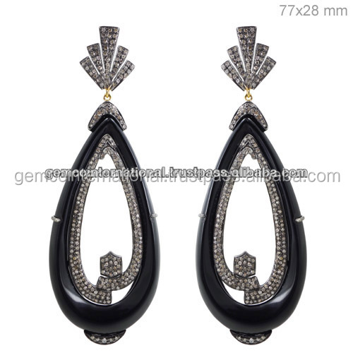 Black Onyx Diamond Gemstone Earrings 14k Yellow Gold 925 Sterling Silver Indian Jewelry Whole