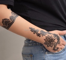 2015 New Designs Henna Lace Temporary Tattoo Sticker Waterproof Flowers Tattoos