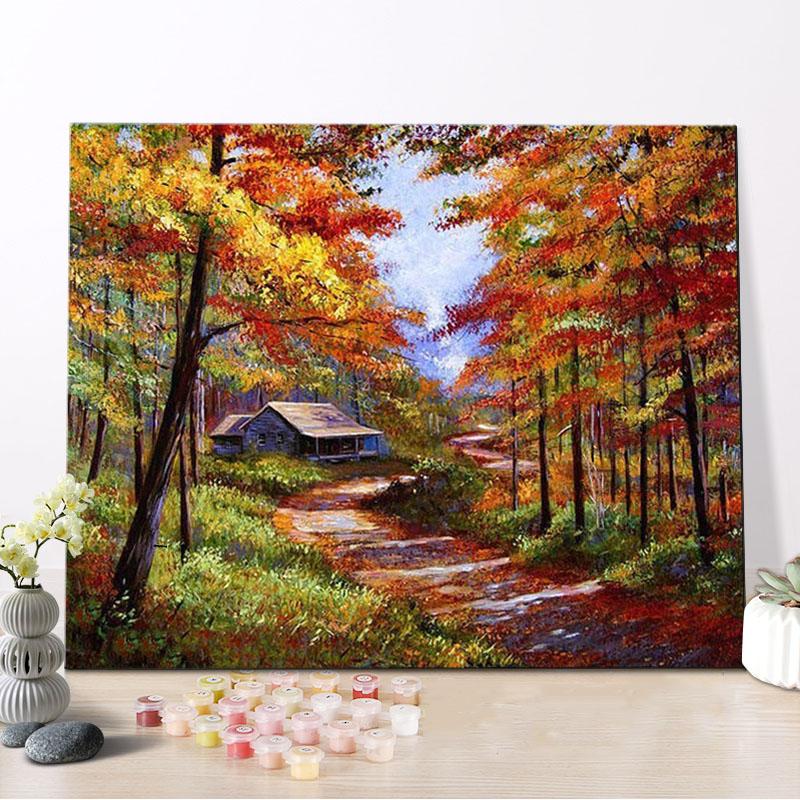 Venta al por mayor pinturas al oleo paisajes otoalesCompre online