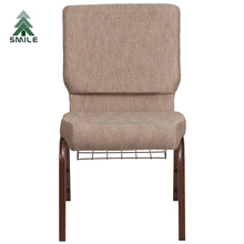 Discount connected padded stackable church chairs with bookrack