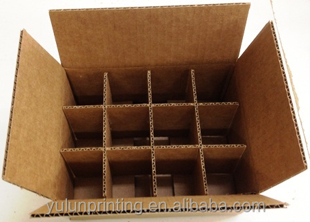 Custom paper 12 wine bottle and glass box corrugated wine packaging box with dividers