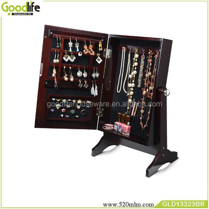Goodlife wooden wall shelf and table top jewelry cabinet jewelry box