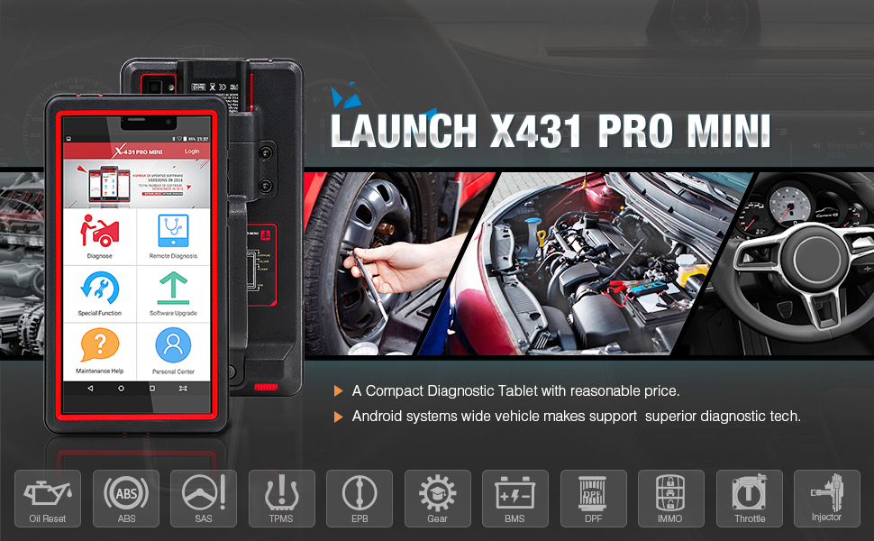 Araba bilgisayar tarayıcı motor tarama aracı Lansmanı X431 Pro Mini araç teşhis makinesi