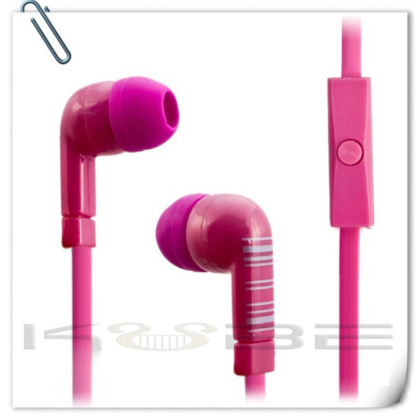 2017 new products in-ear headphones flat cable earphone with mic