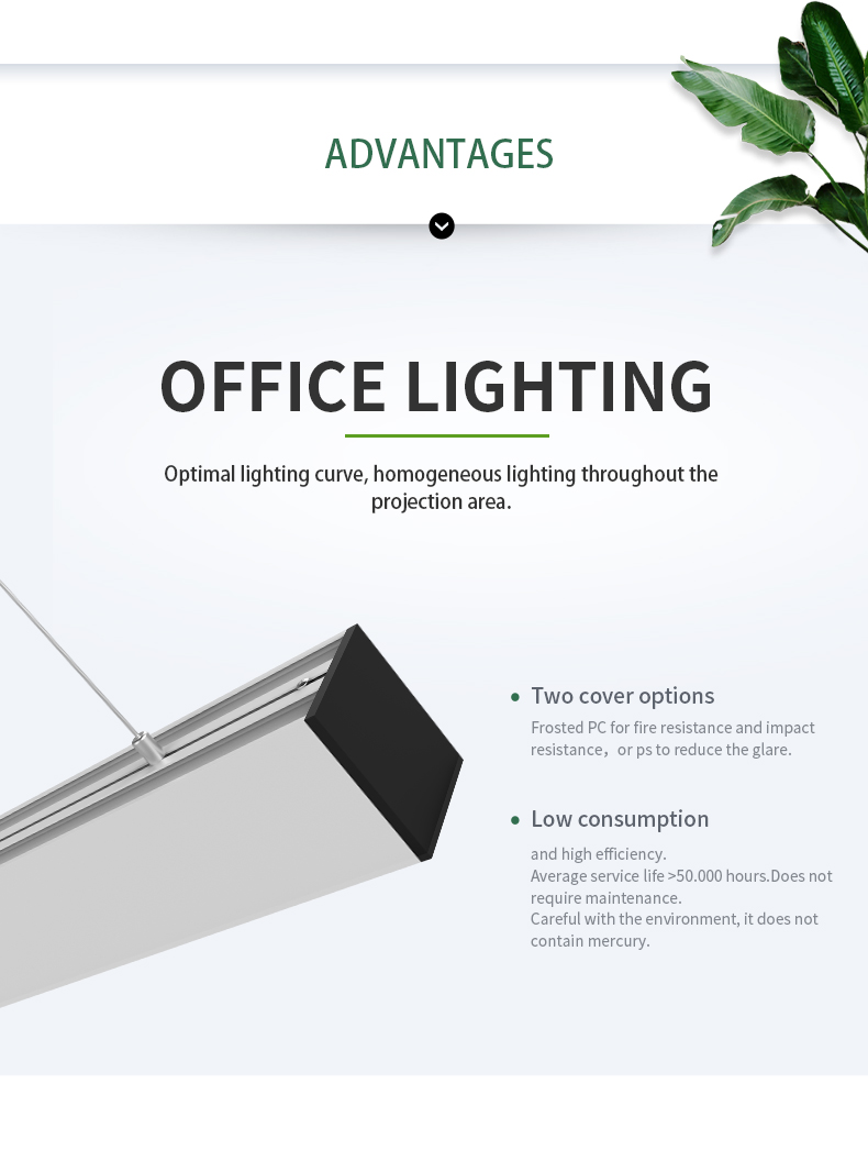 Super high efficiency LED linear light 1500mm 50W for office or project