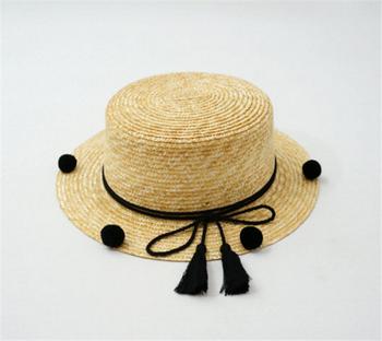 06f49dd3 Pom Pom Straw Boater Hat Tassel Woven Hat