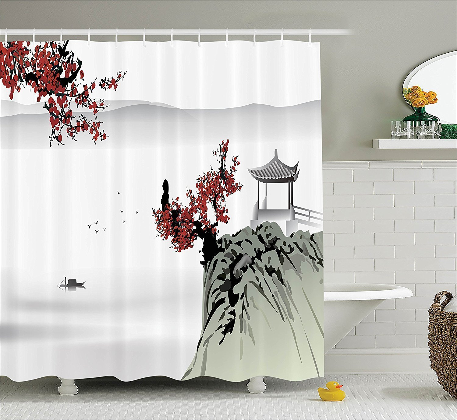 Superbe Get Quotations · Asian Decor Shower Curtain Set By YOUHOME, Asian River  Scenery With Cherry Blossoms And Boat