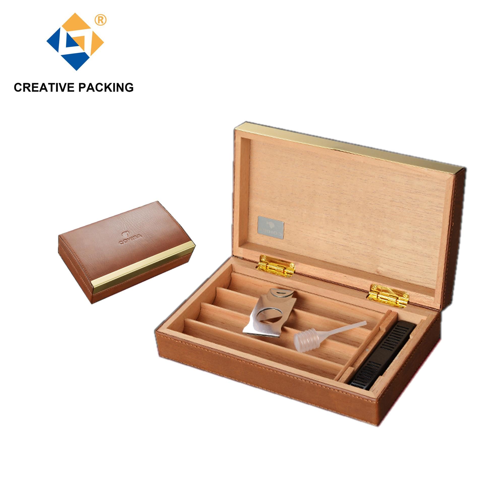 Diy Hot Sale Pu Leather Covered Wood Brown Leather Humidor