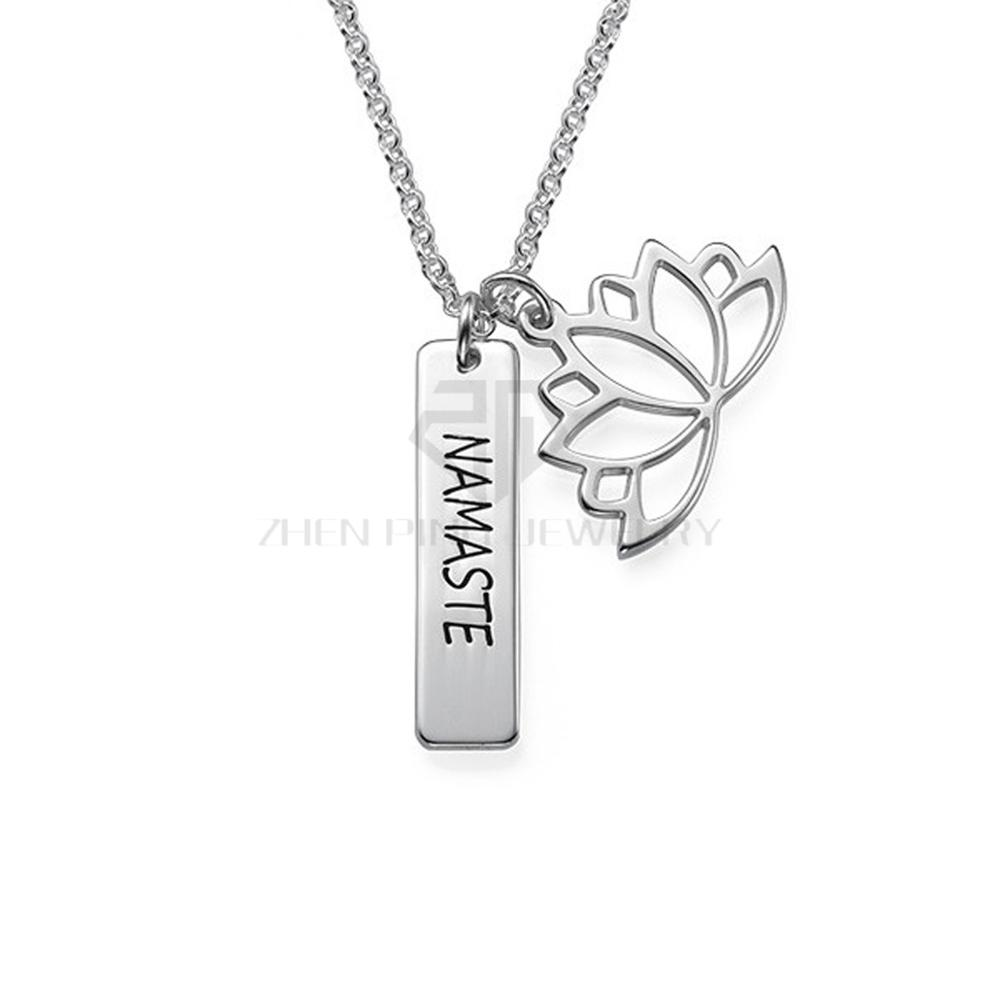 Lotus flower necklace with personalized bar name necklace 316 zp pc033 1 custom name necklaceg izmirmasajfo
