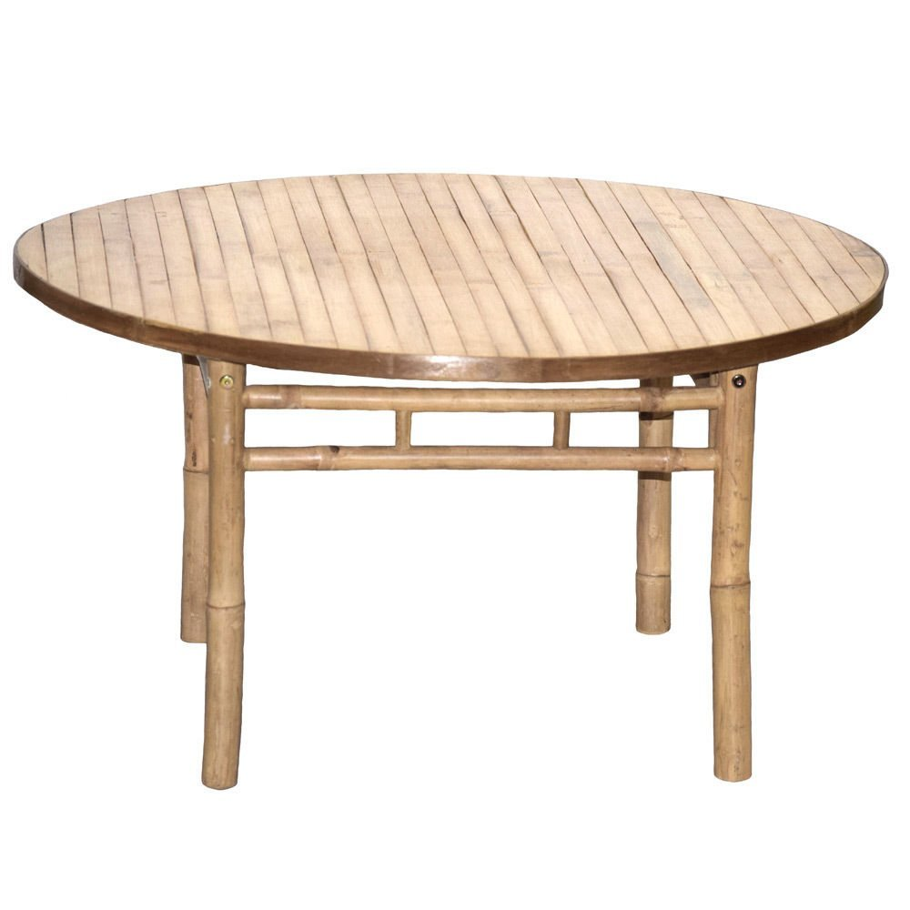 1PerfectChoice Living Room Patio Round Coffee KD Table Side Stand Bamboo  Natural Handmade