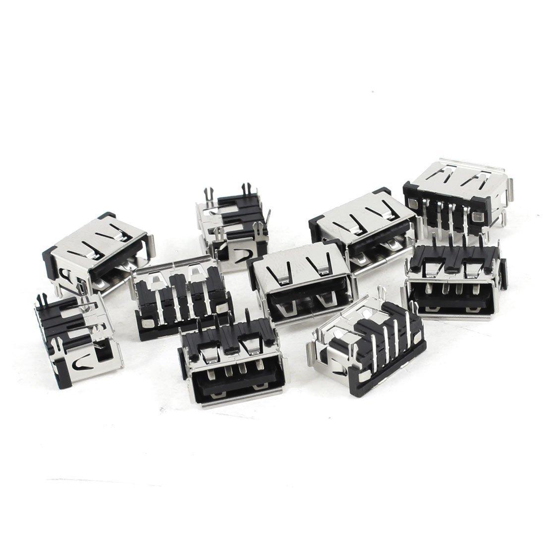 uxcell 10 Pcs Shielded USB 2.0 Type A 90 Degree 4-Pin Female Jack Socket