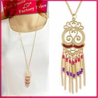 2016 best selling gold plated jewelry wholesale bali women popular seed bead tassel necklace