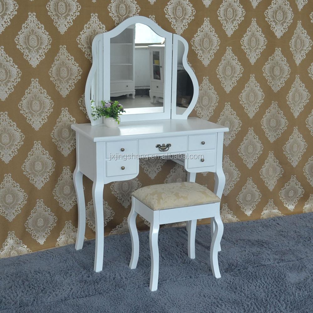 3-delige mooie elegante witte afwerking kaptafel spiegel make-up ...