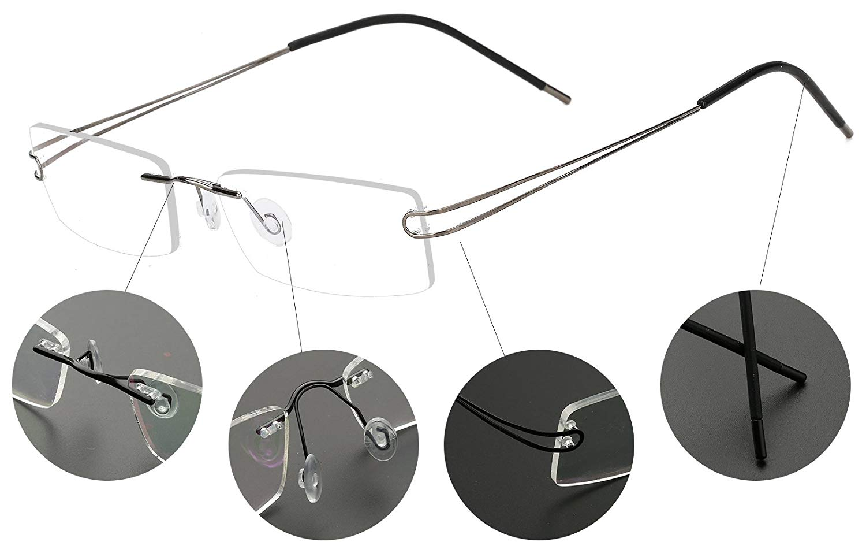 ed727194a38 Get Quotations · Agstum Pure Titanium Rimless Frame Prescription Hingeless  Eyeglasses 52mm