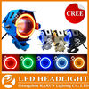 2015 KARUN New products U7 12V motorcycle double headlight with angel eye