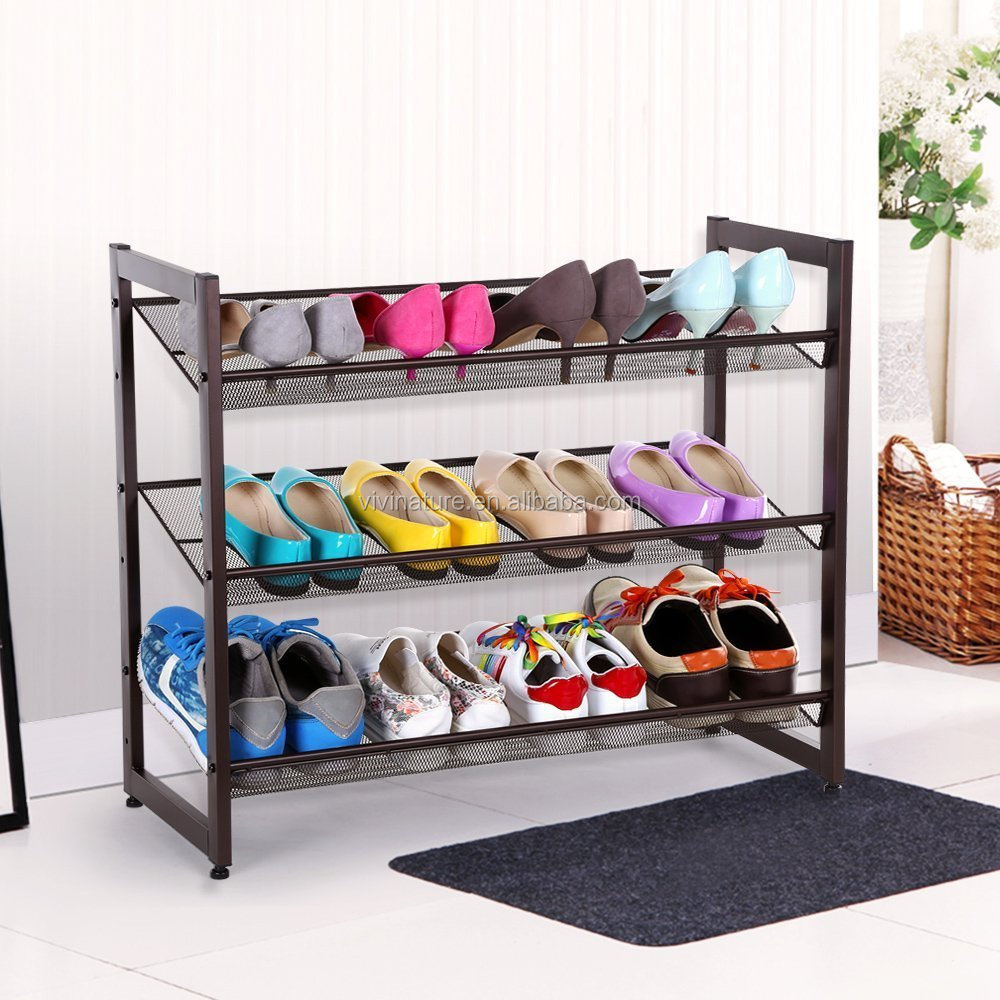 3 Tiers Stackable metal mesh shoes rack and storage rack