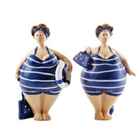 Resin crafts hot selling fat sexy lady figurine, cartoon adorable lady statue