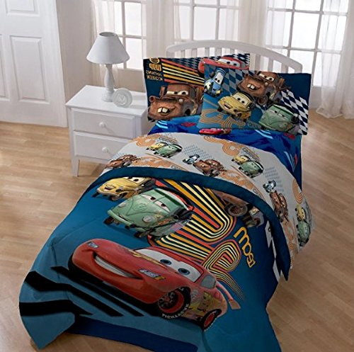 2 Piece Boys Disney Cars The Movie Comforter Twin Set, Race Car Themed Bedding, Racecar Checkered Flag Pattern, Lightening McQueen Mater Filmore Luigi Guido, Blue Red Gray Yellow Green Brown Grey