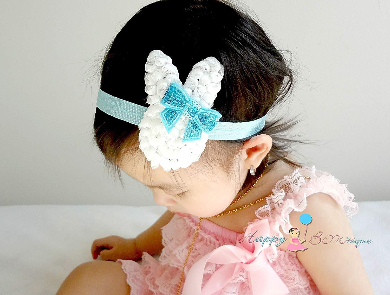 Baby Girl Aqua Bunny Headband, Easter Baby Headband, Baby Easter Headband, Easter bunny headband,Baby Girl Bunny Headband, Baby 1st Easter headband, Baby Easter