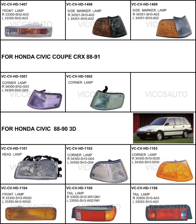 OEM 33500-SR3-A01 33550-SR3-A01 FOR HONDA CIVIC 90- 95 2D/3D/4D Auto Car  tail lamp tail light, View Auto Car tail lamp tail light, VICCSAUTO Product