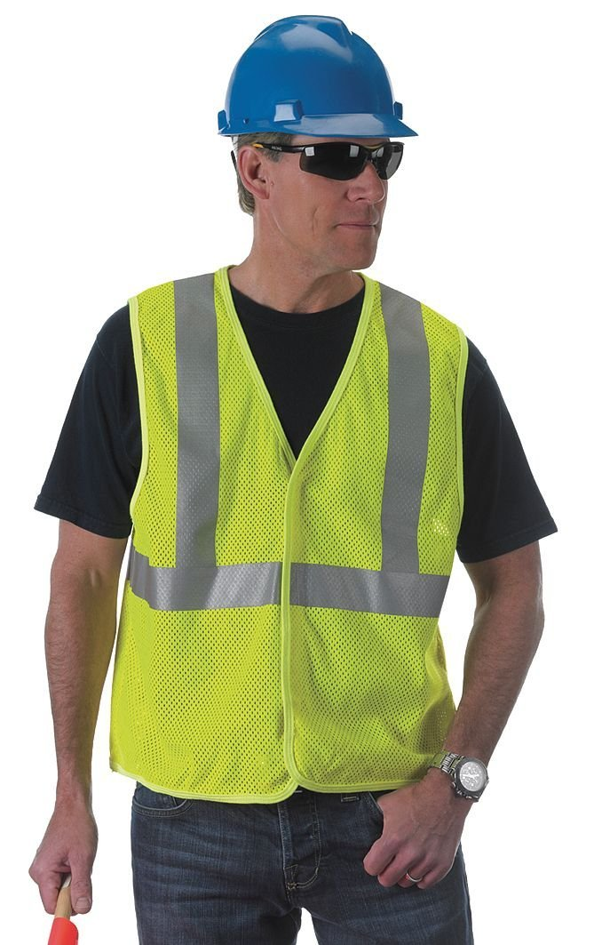 High Visibility Green Flame Resistant Vest, 2 ANSI Class - 1 Each
