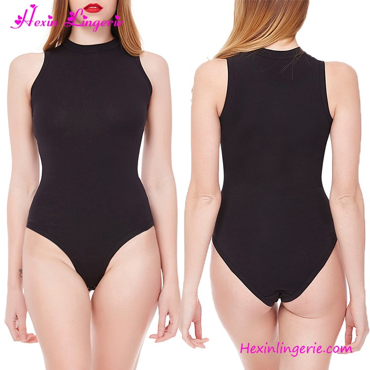 Black High Neck Backless Long Sleeves Women Tight Romper Sexy Bodysuit 222422238