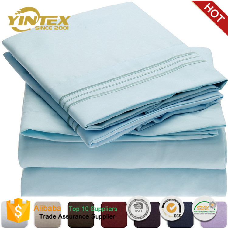 Latest Double Bed Linen Designs 100% Microfiber Brush Fabric Bed Sheet