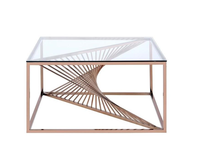 Metal Geometric Frame Coffee Table with Stainless Steel Base Tempered Glass Top