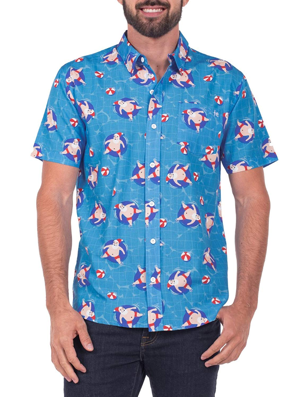 88bb43ea467 Get Quotations · Tipsy Elves Men s Pool Boy Santa Hawaiian Ugly Christmas Button  Down Shirt - Hawaiian Christmas Shirt