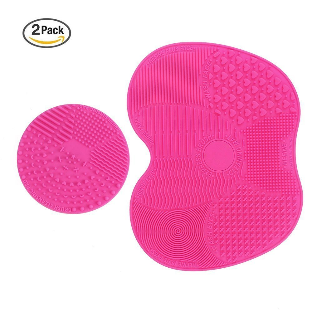 Adecco LLC Makeup Brush Cleaning Mat, Makeup Brush Cleaner Pad Set of 2 Cosmetic Brush Cleaning Mat Portable Washing Tool Scrubber Suction Cup (pink)