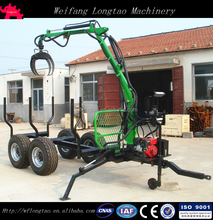 ATV Towable 6.5hp Engine Self Powered Hydraulic Driven 4WD Log Timber Trailer with Crane