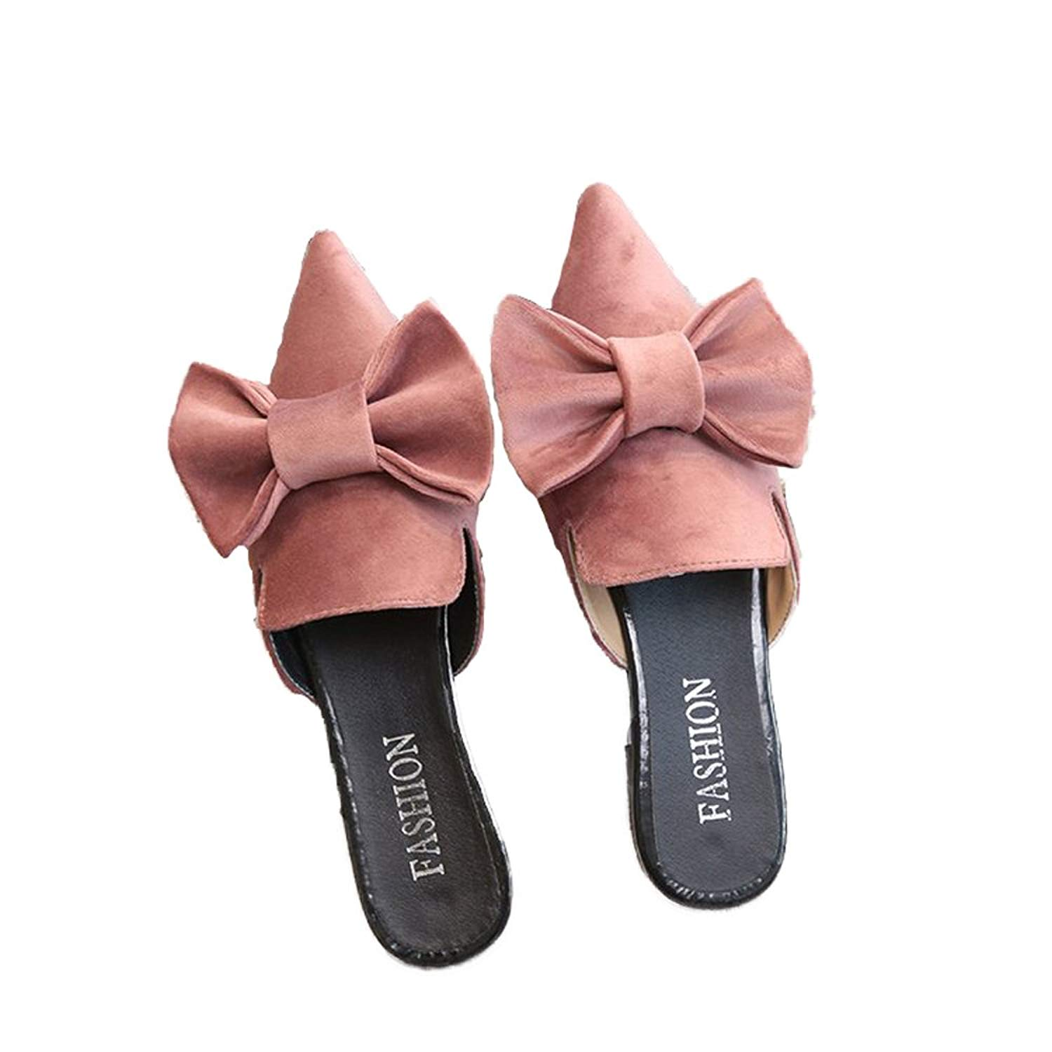 d9e28a45f Get Quotations · Luobote Mules Flat Mules Women Mules Loafer Mules Slip On  Mules Bow Mules